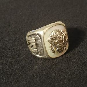 Vintage WWII US Army DB Sterling Ring Size 10